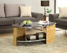 Jual Furnishings JF301 Oval Coffee Table - Oak - The open table top space is a practical area for your TV remotes, drinks and your everyday items. You can also use the storage shelf for all your magazines, books and anything you like to keep neatly stored away.