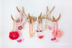 Coral, Gold, and White Nursery - antler headband hanger detail
