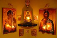 An icon corner is an essential feature of any Orthodox house. It becomes the family's place of worship – the home altar. Orthodox Prayers, Orthodox Christianity, Religious Icons, Religious Art, Home Altar Catholic, Prayer Corner, Jesus Christus, Les Religions, Prayer Room