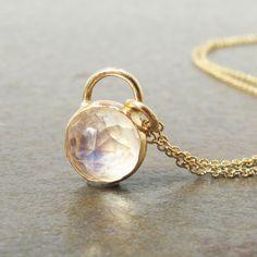Gold Rainbow Moonstone Necklace. $245.00, via Etsy.