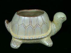 Vintage Frankoma Pottery Turtle Planter 396 Brown Beige Art Deco Retro Garden