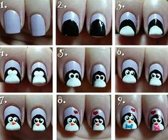 8 Simple Nail Tutorials For Christmas Party – Top New Winter Manicure Trend Design Simple Nail Art Designs, Winter Nail Designs, Winter Nail Art, Winter Nails, Cute Nail Art, Easy Nail Art, Cute Nails, Penguin Nail Art, Animal Nail Art