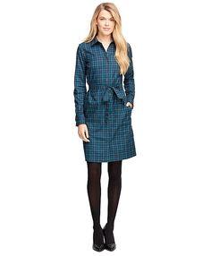 Cotton Gingham Shirt DressTeal