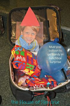 Lunchbox Surprise - stuff a candy into a balloon and wrap your child's lunch. They have to pop the balloon to get the birthday treat. Check out these other fresh ideas from the House of Hendrix Birthday Surprise For Husband, Birthday Morning Surprise, Best Birthday Surprises, Birthday Lunch, Happy Birthday Sister, Birthday Treats, Happy Birthday Images, 11th Birthday, Happy Birthday Greetings