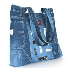 Recycled jean handbag , Large reclaimed denim shoulder bag in blue , one of a kind tote bag