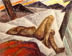 """Munn was particularly proud of """"Composition (Reclining Nude),"""" (c. 1926–28, private collection). She included it in the 1928 Group of Seven exhibition and made a monoprint based on this composition."""