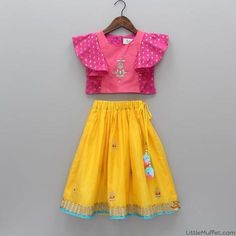 Pre Order: Pink Top With Yellow Lehenga Kids Dress Wear, Kids Gown, Kids Wear, Baby Girl Party Dresses, Dresses Kids Girl, Kids Outfits, Kids Indian Wear, Kids Ethnic Wear, Baby Frocks Designs
