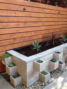 Cinder block garden ideas DIY cinder block flowerbed modern patio design ideas