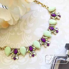 "Mint Teardrop and Purple Statement Necklace Beautiful and bold statement necklace in mint, purple and gold. Antiqued gold chain 16-18"". Sorry no trades or PayPal  Jewelry Necklaces"