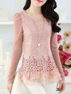 Elegant Round Neck Lace Pure Shirt Shirts from fashionmia.com