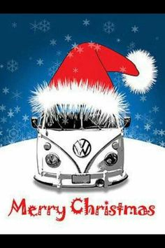 VW Bus Merry Christmas at the beach! Christmas Greetings, Christmas Cards, Merry Christmas, Xmas, Christmas Night, Transporteur Volkswagen, Vw T1, Wallpaper Natal, Combi T2