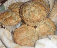 Flourless Oatmeal Banana Muffins: 2.5 cups old fashioned oats , 1 cup plain low fat greek yogurt, 2 eggs, 3/4 cup sugar, 1.5 tsp baking powder, 1/2 tsp baking soda, 2 ripe bananas, Preheat oven to 400, Spray muffin pan with cooking spray, Place all ingredients in blender or food processor, Blend until oats are smooth, Divide batter among muffin tin, Bake for 15-20 minutes.