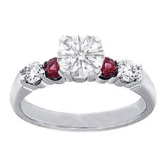Round Diamonds and Ruby Engagement Ring, 0.40 tcw