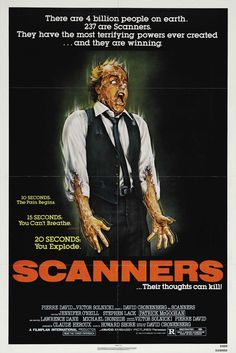 US one sheet for SCANNERS (David Cronenberg, Canada, 1981) Artist: Joann Daley Poster source: Heritage Auctions Playing at the Museum of the Moving Image in Queens, NY tonight.