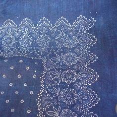Indigo resist dyed vintage linen sheet. 220x150 cm