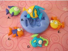 Cartoon Fish Silicone Mold -  Fish Mold - Silicone Mold - Food Safe Mold - Flexible Mold - Fondant Mold - Resin Mold - Cake Decorating Tool