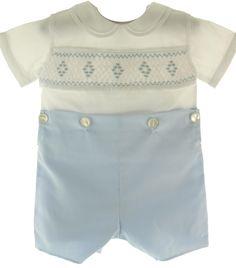 Hiccups Childrens Boutique - Feltman Brother Infant Boys Blue White Smocked Bobbie Suit, $55.00 (https://www.hiccupschildrensboutique.com/feltman-brother-infant-boys-blue-white-smocked-bobbie-suit/)