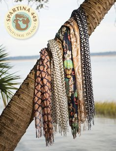 #Spartina449 #SeaIslands Collection Bamboo Weave Scarves Featured left to right: #Tybee #Kiawah #Amelia #StSimons #HiltonHead