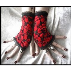 Opiate Annie Lace Fingerless Gloves - Black w/ Blood Ruby Red Floral Poppy Fishnet - Gothic Vampire Goth Dark Lolita Victorian Wedding Boho