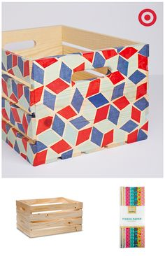 Turn a simple pine wood crate into a one-of-a-kind storage box using colorful tissue as decoupage. It's all possible with easy-to-use craft supplies from Hand Made Modern. Give it a whirl and discover DIY fun!