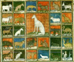 Un lévrier se trouve au centre de l'inventaire des animaux (détail, f°254v =p. 258) -- «Le livre des propriétés des choses», par Barthélémy l'Anglais, traduit par Jean Corbichon, Paris, avant 1416 [BM Reims, Ms 993]