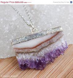 SALE Silver Purple Amethyst Druzy Necklace Geode Slice by OhKuol, $52.00