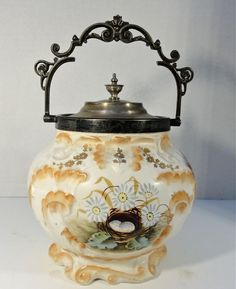 SPECTACULAR VICTORIAN BISCUIT JAR WITH SILVER HANDLE AND LID #UNKNOWN