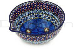 Polish Pottery 6-inch Bowl with Spout   Boleslawiec Stoneware   Polmedia H5554G