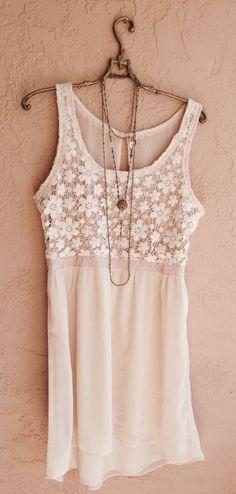 Bohemian Romantic Crochet top dress with open back by BohoAngels