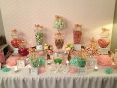 pale pink, mint with a splash of gold. A pink lace backdrop was used, tissue paper pom poms & variety of glass apothecary jars. Gold Candy Buffet, Lolly Buffet, Candy Table, Wedding Desserts, Wedding Decorations, Decor Wedding, Wedding Ideas, Mint Gold Weddings, Wedding Favor Inspiration