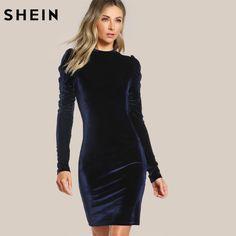 45591c2581b377a 40% СКИДКА|SHEIN бархатное платье карандаш с пышными рукавами женские  осенние платья темно синие элегантные вечерние платья длиной до колена с  длинными ...