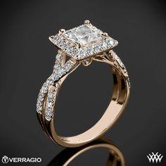 18k Rose Gold Verragio Square Halo Diamond Engagement Ring