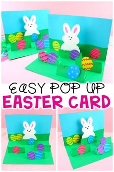 How to Make a Pop Up Easter Card -Easy Easter Craft for Kids. This homemade Easter card is a fun and easy craft for kids of all ages to make for Easter. Simple pop up handmade greeting card and Easter crafts for kids. Easter Arts And Crafts, Easter Egg Crafts, Bunny Crafts, Easter Projects, Easter Crafts For Kids, Crafts To Do, Rock Crafts, Diy Easter Cards, Easter Activities