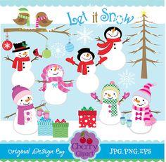 Winter Snowman Fun digital clipart setPersonal by Cherryclipart, $5.00