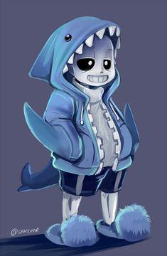 "sanspar: "" sans with shark hoodie """