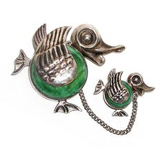 Cute Mexico Mama and Baby Duck Figural by AgedandOpulentJewels