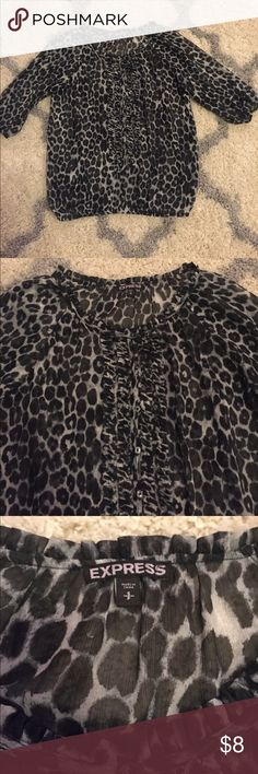 Gray & black Express leopard print top Flowy Express Black leopard print top Size S. EUC Comes from a smoke free puppy loving home! Bundle and save! Express Tops Blouses