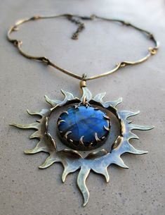 Sun Talisman with Labradorite Spirituality by SilviasCreations boho / artistic pendant with blues (reminds me of a sword of Iomedae) Enamel Jewelry, Metal Jewelry, Jewelry Art, Silver Jewelry, Jewelry Necklaces, Jewelry Design, Gemstone Jewelry, Plexus Products, Labradorite
