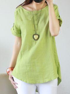 Ladylike Round Neck Blended  Short-sleeve-t-shirts(plus Size) Short sleeve T-shirts from fashionmia.com