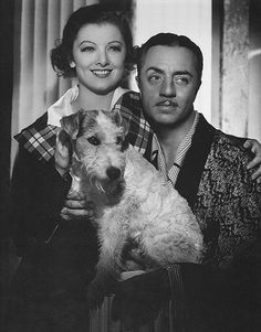 William Powell, Myrna Loy, with Asta, the very famous Wire Fox Terrier. Fox Terriers, Chien Fox Terrier, Wire Fox Terrier, Myrna Loy, Jack Russell Terriers, Golden Age Of Hollywood, Hollywood Stars, Classic Hollywood, Vintage Hollywood