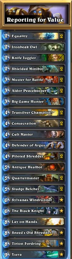 Reporting for Value paladin Decklist
