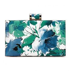 Floral Wash Painting Leather-look Box Clutch Bag in Blue and Green ($24) ❤ liked on Polyvore featuring bags, handbags, clutches, green clutches, green purse, vegan leather purse, vegan handbags and hard clutch