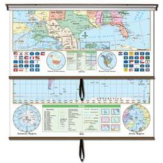 US and World Essential Combo Classroom Wall Map - $289