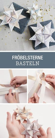 Faltanleitung for Christmas Fröbelsterne, crafts with paper / how to fold christmas paper stars via 3d Origami, Origami Paper, Diy Paper, Paper Crafts, Oragami, Paper Decorations, Christmas Decorations, Christmas Ornaments, Present Christmas