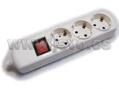 Base múltiple de 3 tomas sin cable, con interruptor y protección de seguridad para niños - Electro dh 36.271/SC – Máx.: 3.680 W, 16A-250Vac~ #jsventaonline www.jsvo.es
