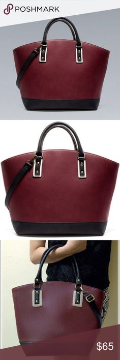 """Zara Shopper Basket Bag in Red/Navy Faux Leather Good Used Condition. VERY CLASSY. Faux Leather. No strap. Just handles. Burgundy/Dark Navy 16"""" x 12"""" x 4"""" and 5"""" handle drop Zara Bags Totes"""