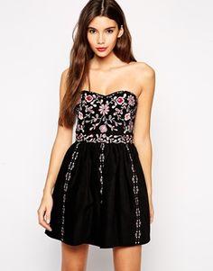 ASOS PETITE Premium Embroidered Bandeau Dress
