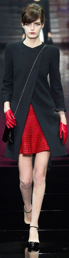 Armani Privé Fall-winter 2014-2015. Love the jacket and the gloves.