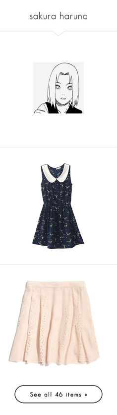 """""""sakura haruno"""" by citixen ❤ liked on Polyvore featuring dresses, vestidos, robes, romwe, blue sleeveless dress, sleeveless chiffon dress, navy chiffon dress, sleeveless dress, navy blue dress and skirts"""