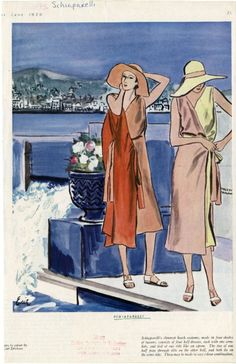 1930 Elsa Schiaparelli for June Harper's Bazaar. Pictured at right, the reversible beachwear ensemble.